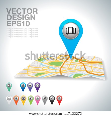 blue travel pointer on map. - stock vector