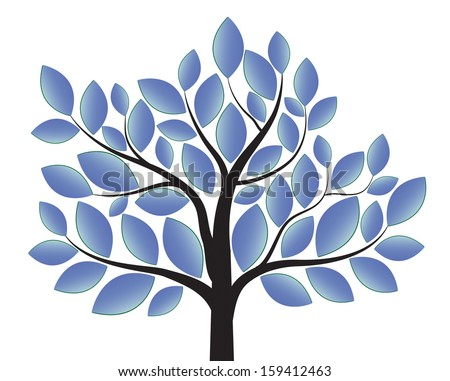 blue tree isolated on white background - stock vector