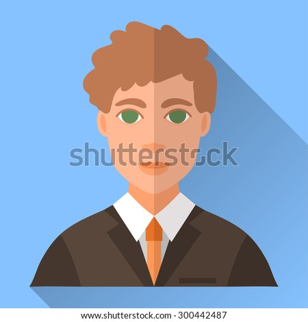 Blue trendy flat square wedding day fiance icon with shadow. Illustration of handsome future husband with short curly brown hair wearing dark brown hipster suit, white shirt and orange tie. - stock vector