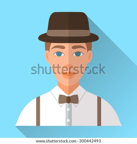 Blue trendy flat square wedding day fiance icon with shadow. Illustration of handsome future husband wearing stylish brown hat, white shirt, braces and brown bow tie. Hipster wedding male character. - stock vector
