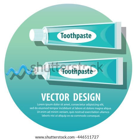 blue Tube of Toothpaste  . Dental hygiene concept with tooth  toothpaste protect your teeth vector illustration. - stock vector