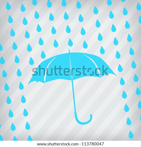 blue umbrella and rain drops on the stripped background - stock vector