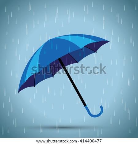 blue umbrella rain background - stock vector