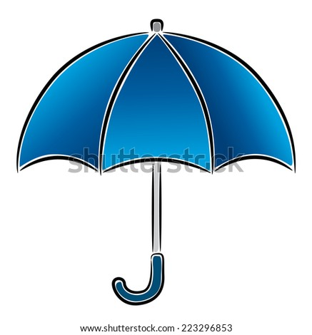 Blue Umbrella, vector icon, illustration on white background - stock vector