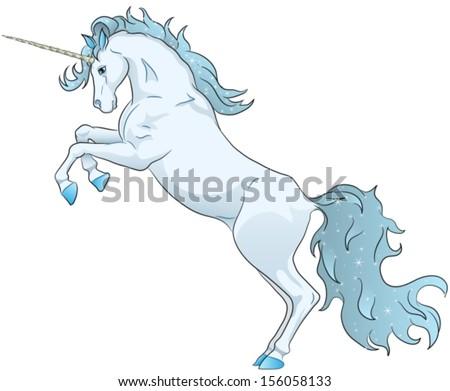blue unicorn standing on hind legs - stock vector