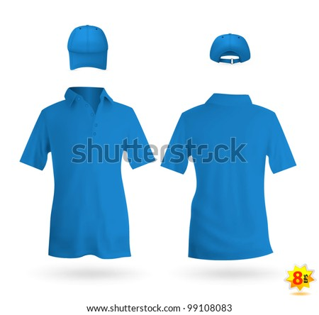 Blue unisex uniform template set: polo shirt and baseball cap - stock vector