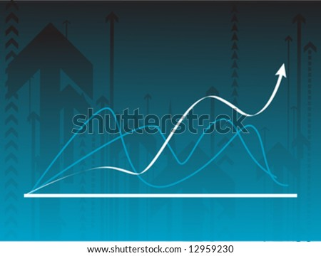 Blue vector background with a graph - stock vector