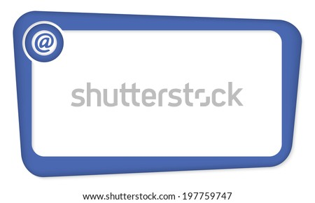 blue vector box for insertion text with email icon - stock vector