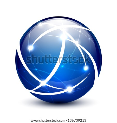 Blue vector communication globe icon concept design - stock vector