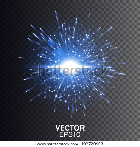 Blue vector explosion. Star burst with sparkles. Glow light effect. Vector illustration on transparent background. - stock vector