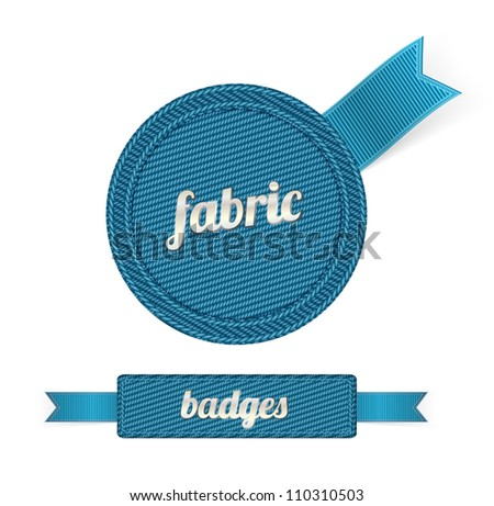 Blue vector fabric badges with blue ribbons - stock vector