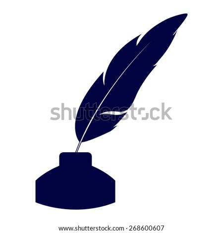 Blue Vector feather and ink bottle icon - stock vector