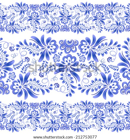 Blue vector floral seamless linear patterns in gzhel style - stock vector