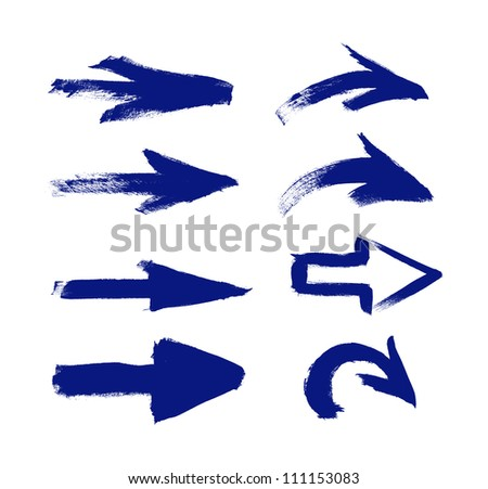 Blue vector hand-painted brush stroke arrows collection on black background - stock vector