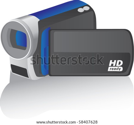 blue vector hd camcorder - illustration - stock vector