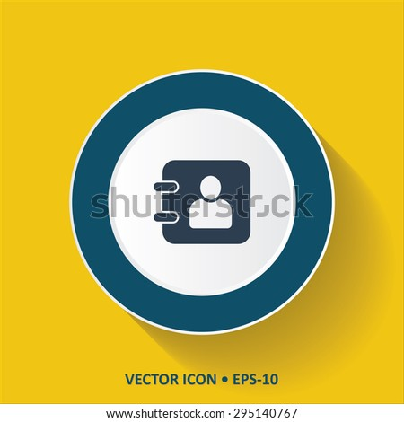 Blue vector Icon of Diary on Yellow Color Background with Long Shadow. Eps.10. - stock vector