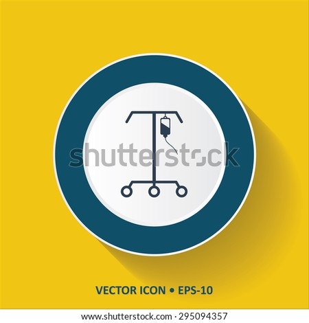 Blue vector Icon of IV Stand on Yellow Color Background with Long Shadow. Eps.10. - stock vector