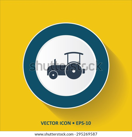 Blue vector Icon of Road Roller on Yellow Color Background with Long Shadow. Eps.10. - stock vector