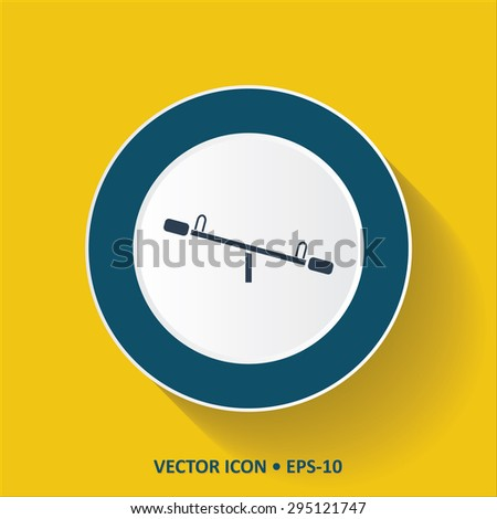 Blue vector Icon of Seesaw on Yellow Color Background with Long Shadow. Eps.10. - stock vector