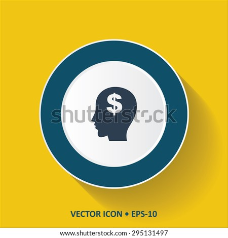 Blue vector Icon of Think Money on Yellow Color Background with Long Shadow. Eps.10. - stock vector