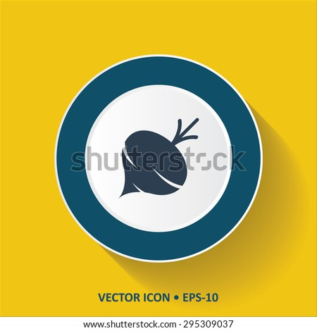 Blue vector Icon of Turnip on Yellow Color Background with Long Shadow. Eps.10. - stock vector