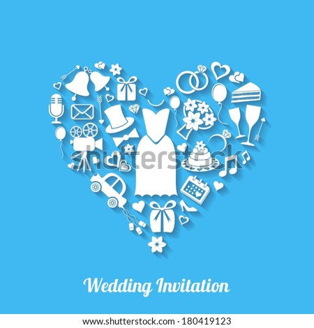 Blue vector invitation card with wedding design elements - stock vector