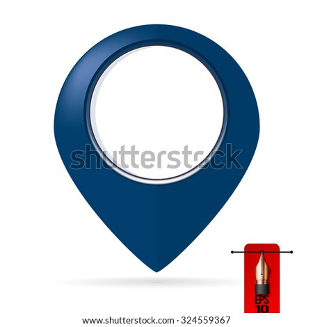 Blue vector map label pin or geo tag - stock vector