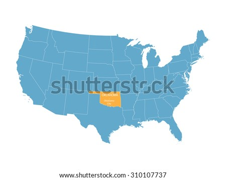 blue vector map of United States with indication of Oklahoma - stock vector