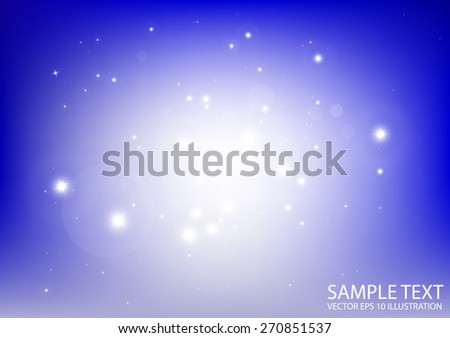 Blue vector space sparkles background template illustration - Vector abstract blue sparkle background template - stock vector