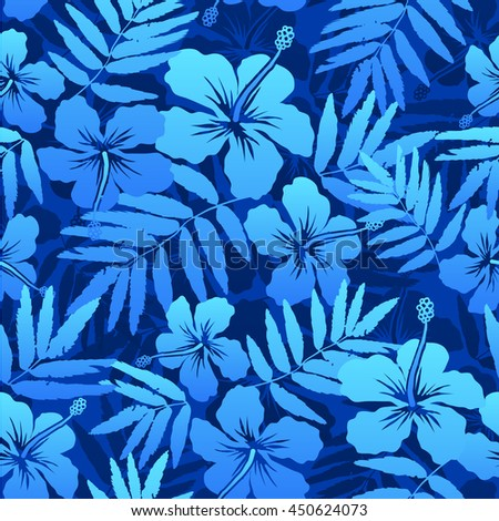 Blue vector tropical flowers seamless pattern - stock vector
