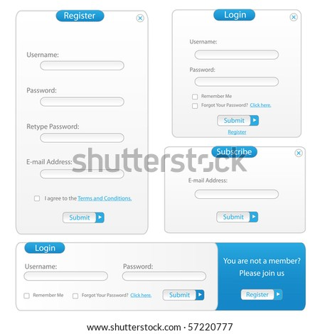 Blue Vector Web Template Forms - stock vector