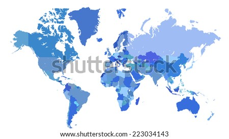 blue vector world map with borders of countries on white background - stock vector