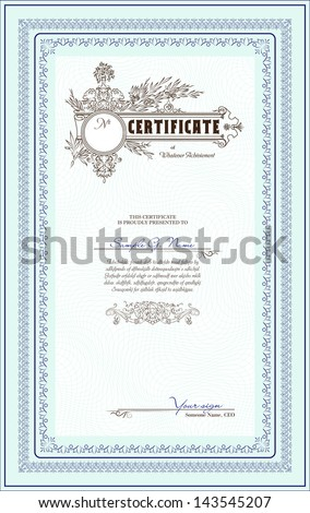 blue vertical vector blank of certificate - stock vector