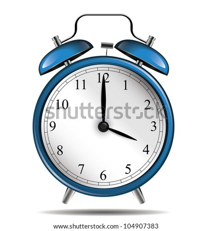 Blue vintage alarm clock - stock vector