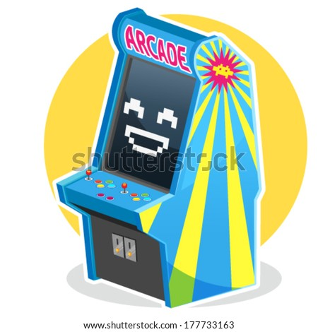Blue Vintage Arcade Machine Game - stock vector