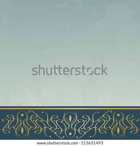 blue vintage background with a border - stock vector