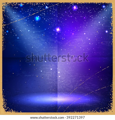 Blue vintage retro background with stars and the rays of searchlights. Vector illustration - stock vector