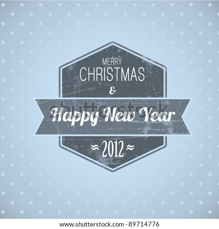 Blue vintage retro Christmas label on the light background - stock vector
