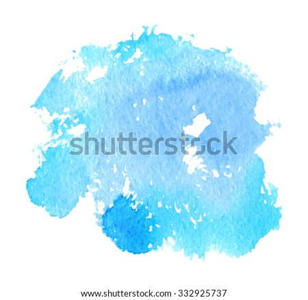 Blue violet watercolor brush painted isolated blot stain on white background. Winter artistic stylized abstract vector illustration. Hand drawn wash paper texture. Design water element for decoration - stock vector