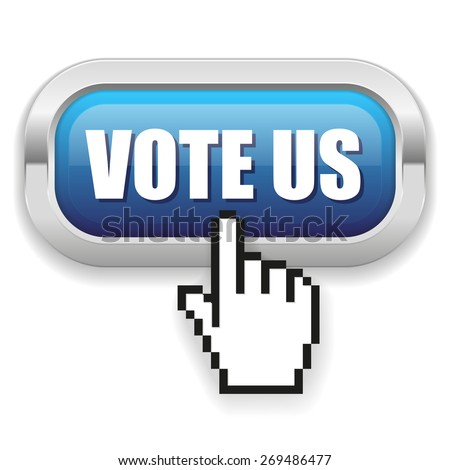 Blue vote us button with metal border on white background - stock vector