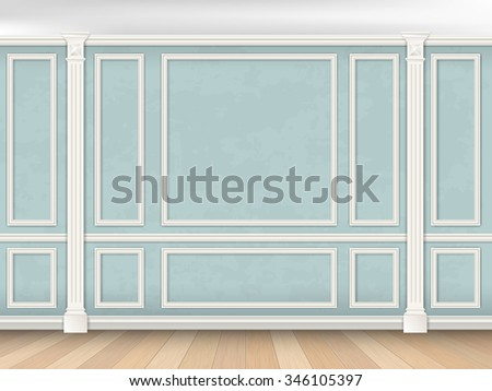 Blue wall interior in classical style with pilasters and moldings. Architectural background. (The color of the walls can be easily changed) - stock vector