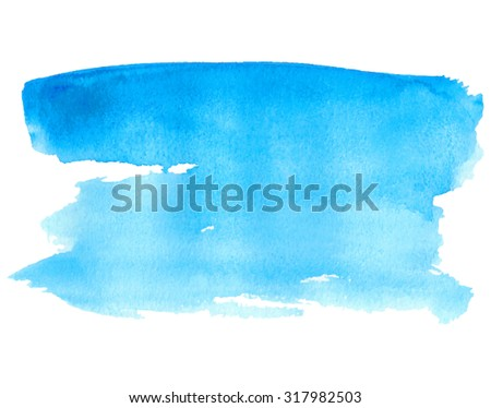 Blue water isolated spot on white background. Watercolor hand drawn blue illustration. Abstract wet brush painted paper texture. Design artistic element for banner, print, template, cover, decoration - stock vector