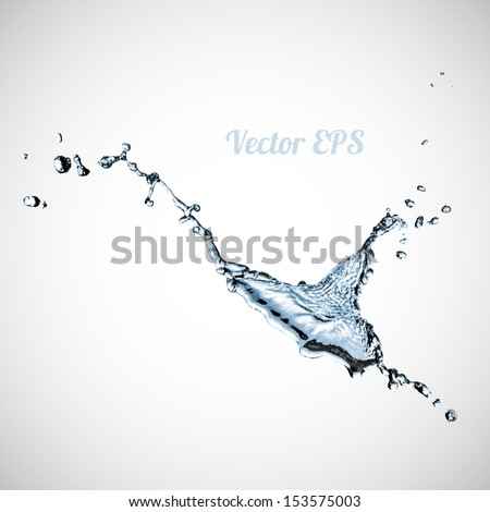 Blue water splash isolated on white background, vector illustration - stock vector