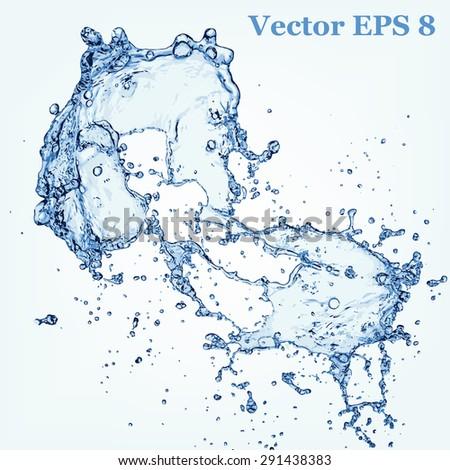 Blue water splash, vector illustration EPS 8. - stock vector