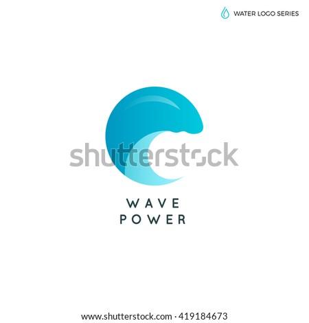 Blue water vector logo. Eco, Environment and Alternative energy logo. Water logo. Water best logo. Aqua logo. Bright water logo. Eco logo. Environment logo. Natural logo. Water energy logo. Wave logo - stock vector