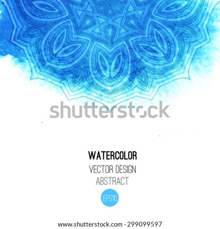 Blue watercolor brush wash with pattern - round tribal elements. Vector ethnic design in boho style. - stock vector