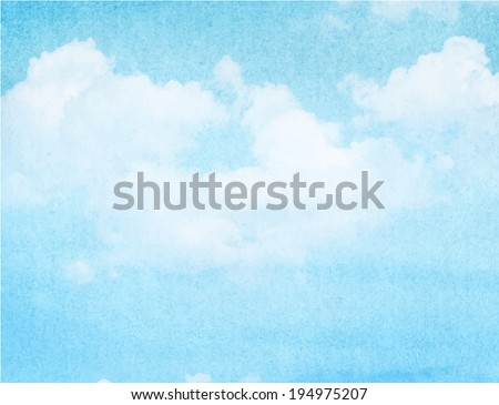 Blue watercolor cloud and sky. Spring, summer background. - stock vector