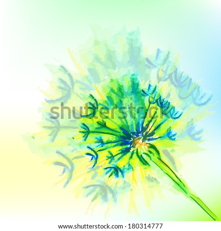 blue watercolor flowers. watercolor dandelion. Vector  - stock vector