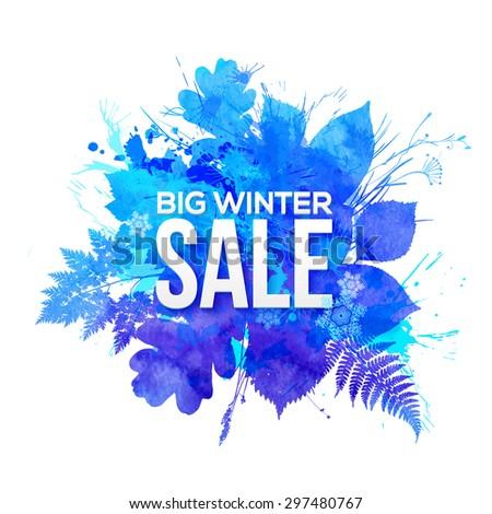 Blue watercolor foliage Big Winter Sale vector banner - stock vector