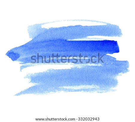 Blue watercolor isolated stain on white background. Wash abstract artistic illustration. Wet brush painted paper texture. Design smear element for decoration, web, scrapbook, print, stencil - stock vector